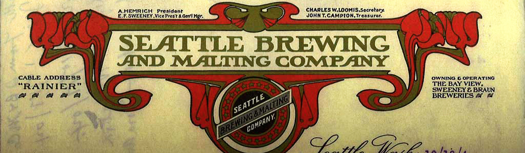 Lettre d'époque de la Seattle Brewing and Malting Company